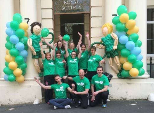 Happy therapists ready to greet NSPCC runners!